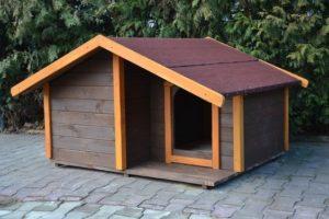 Будка с двускатной крышей для алабая